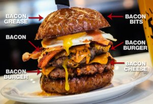 the 'Merica Burger, basically 100% made of bacon, from Slater's 50/50 in San Diego. Photo: Thrillist